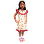 Flower Girl Girls Dress With Hair Band,Cream/Red-KOG649B