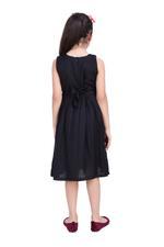 Flower Girl Girls Solid Dress, Black-KFG1249