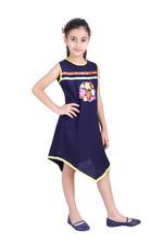 Flower Girl Girls Solid Dress, Navy-KFG1229A