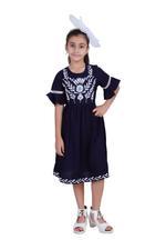 Flower Girl Girls Solid Dress, Navy-KFG1231