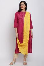 Biba Women Cotton Dupatta,Yellow,BG16470YEL