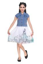 Disney Princess Girls Denim Short Jacket, Blue-HWGLPR86A