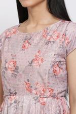 Biba Women Dusky Rose Poly Metallic Anarkali Suit Set,Rose,BG6790ROS