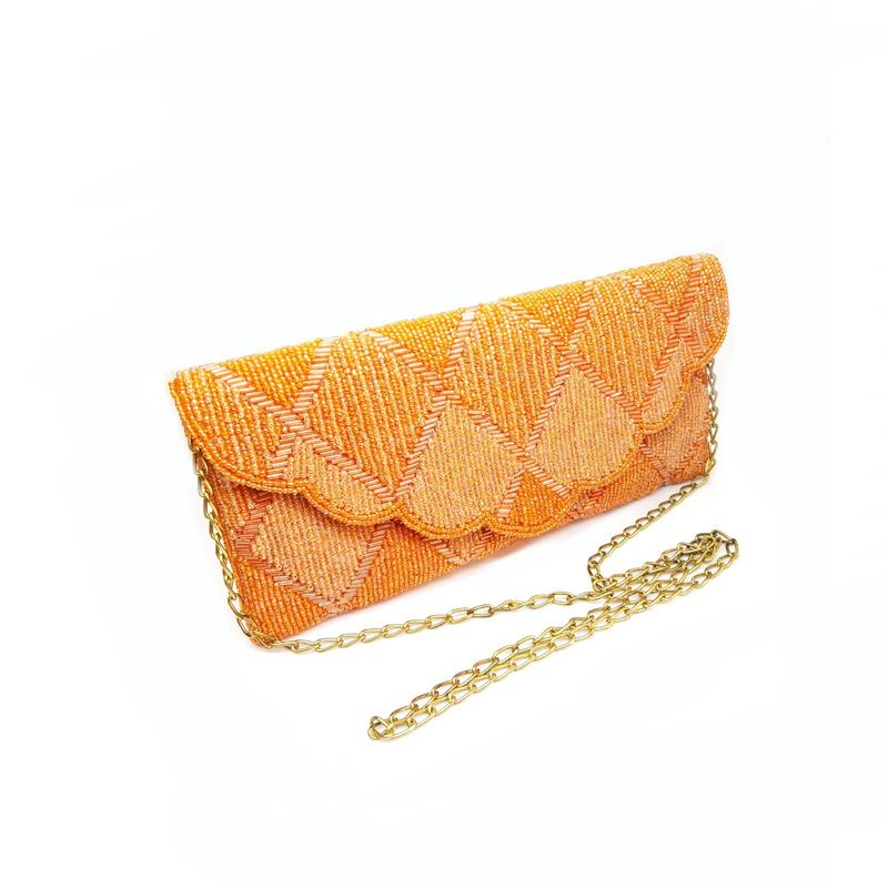Orange Glossy Sequinned Purse With Sling