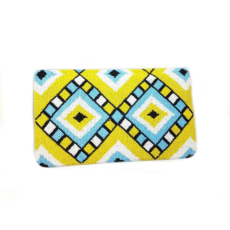 Boho Yellow & Blue Handbag With tassle & A Sling