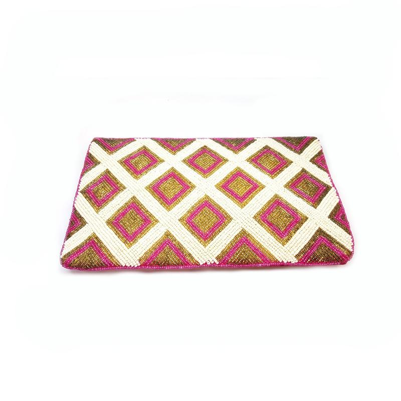 Pink & White Beaded Summery Bag With A Sling