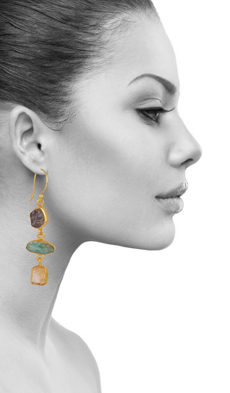 Three Mixed Stone Earring