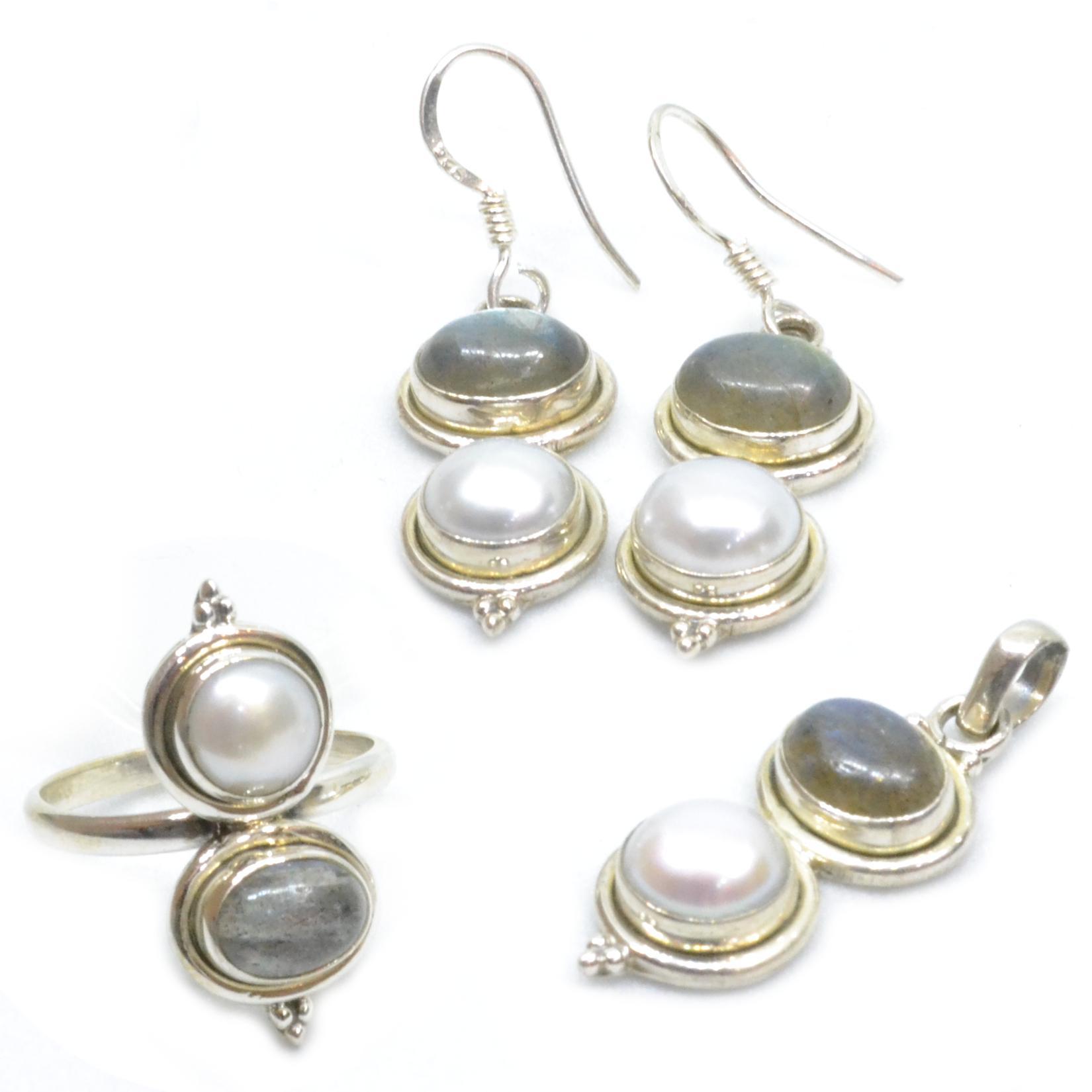 Labradorite & Pearl Pure Silver Set