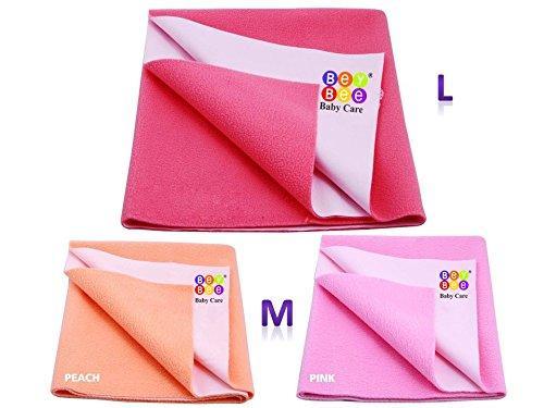 BeyBee {Premium} 100% Waterproof Mattress Protector/Baby Care Gift Pack (1 Large + 2 Medium, Salmon Rose/Pink/Peach)
