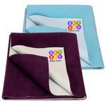BeyBee Waterproof Baby Bed Protector Dry Sheet for New Born Babies Gifts Pack, (Medium Combo of 2, Plum/Sea Blue)