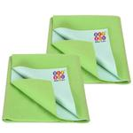 BeyBee Baby's Bed Protector Waterproof Dry Sheet (Light Green, Large, 100 x 140 cm) Combo Pack of 2
