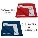 BeyBee Just Dry Bed Protector Baby Mats Waterproof Sheet for New Born Babies Gifts Pack Diaper Changing Pads (Small, Dark Sea Blue/Red)