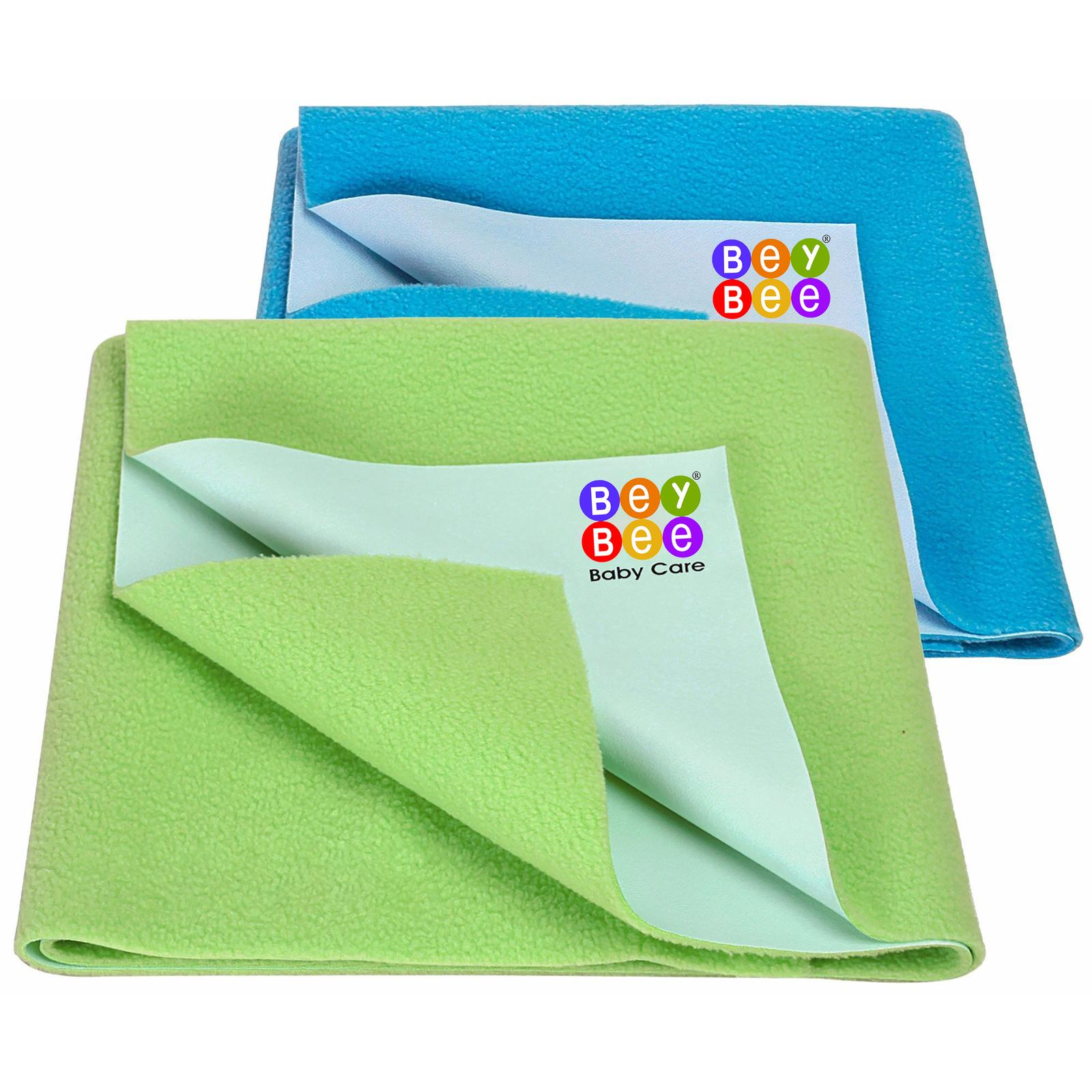 BeyBee Waterproof Baby Bed Protector Dry Sheet for New Born Babies Gifts Pack, (Medium Combo of 2, Light Green/Firoza)