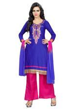 Cotton Printed Salwar Suit Materialin Blue (Unstitched)