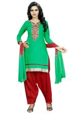 Cotton Embroidered Salwar Suit Material in Green(Unstitched)