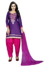 Cotton Embroidered Salwar Suit Material Purple (Unstitched)