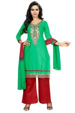 Cotton Printed Salwar Suit Material In Green (Unstitched)