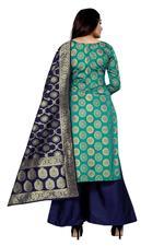 Brocade Self Design Salwar Suit Material In Rama (Unstitched)