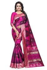Self Design Banarasi COTTON SILK Saree (Mehandi)