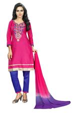 Cotton Embroidered Salwar Suit Material In Pink(Unstitched)
