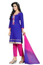 Cotton Printed Salwar Suit Material In Blue (Unstitched)