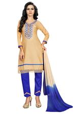 Cotton Printed Salwar Suit Material In Beige (Unstitched)