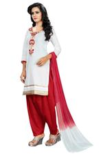 Cotton Printed Salwar Suit Material In White (Unstitched)