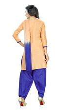 Cotton Embroidered Salwar Suit Material In Beige (Unstitched)