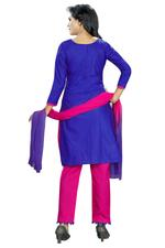 Cotton Embroidered Salwar Suit Material In Blue (Unstitched)