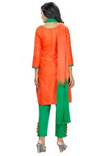 Cotton Embroidered Salwar Suit Material in Red (Unstitched)