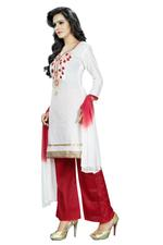 Cotton Embroidered Salwar Suit Material White(Unstitched)