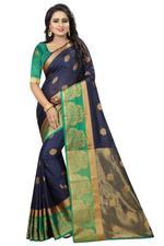 Self Design, Embellished Kanjivaram Cotton Silk Saree