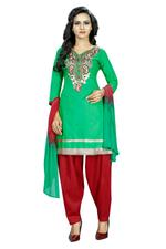 Cotton Embroidered Salwar Suit Material In Green (Unstitched)