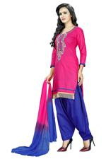 Cotton Printed Salwar Suit Material In Pink (Unstitched)