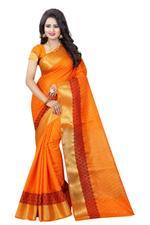Self Design Banarasi Cotton Blend, Poly Silk Saree