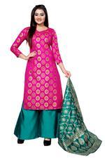 Brocade Self Design Salwar Suit Material in Pink (Unstitched)