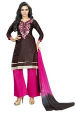 Cotton Embroidered Salwar Suit Material In Brown (Unstitched)