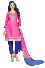 Cotton Embroidered Salwar Suit Material In Pink (Unstitched)