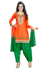 Cotton Printed Salwar Suit Material In Orange (Unstitched)