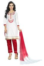Cotton Embroidered Salwar Suit Material In White (Unstitched)