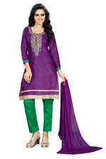 Cotton Embroidered Salwar Suit Material In Purple (Unstitched)