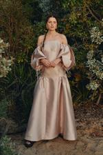 Tube Neck Satin Puffed Sleeve Gown