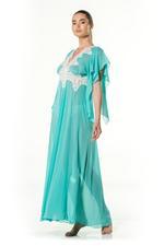 Chiffon & lace Long Nightdress - Turquoise