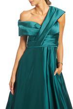 Off-Shoulder Satin Taffeta Gown - Green
