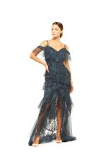 Fitted Beaded Layered Lace beaded Gown - Blue