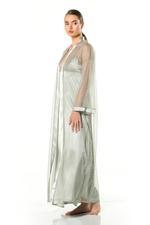 Satin Glamy Shiny Nightdress & Robe Set - Green