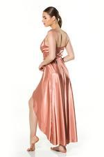 Long Satin Wrap Nightdress - Dark Peach