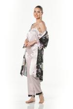 Satan Long Nightdress & Robe Set - Printed-Black/Peach