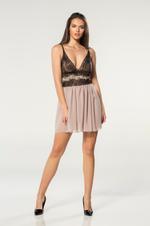 V Neckline Chiffon & Lace Short Nightdress - Beige