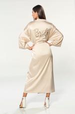 The Bride' - Long Satin Robe - Beige